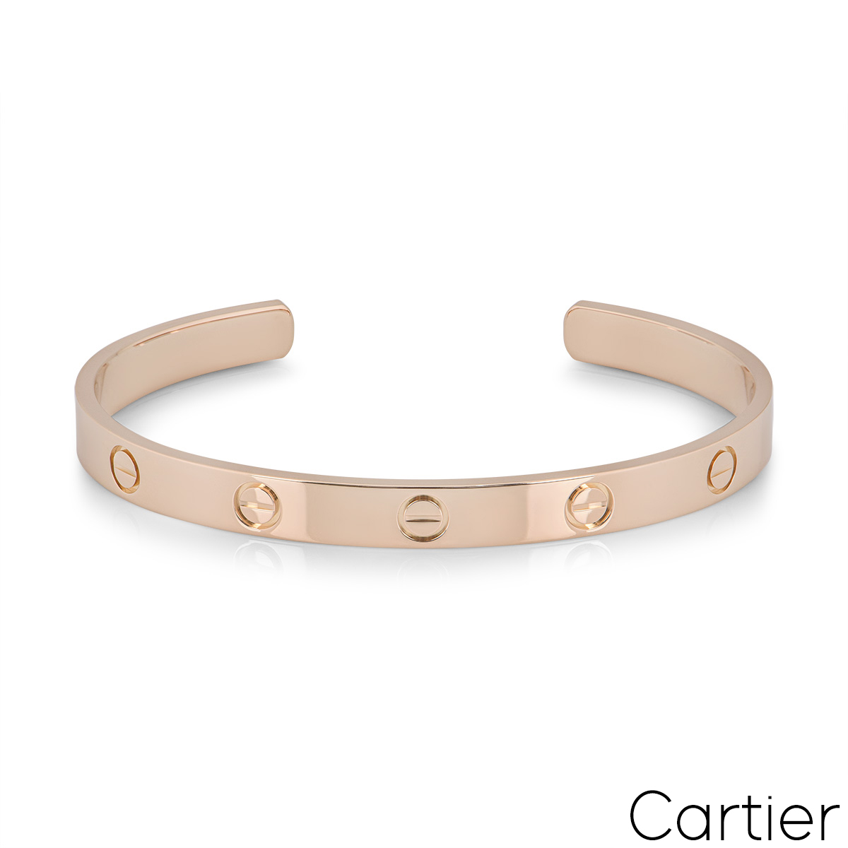 Cartier Rose Gold Plain Cuff Love Bracelet Size 19 B6032619